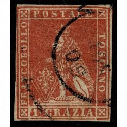 1857 ASI Gran Ducato di Toscana 1 crazia carminio Sas.12 certificato