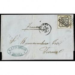 1857 Pontificio 8Baj Sas.9 su lettera da Ancona a Ferrara