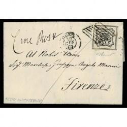1857 Pontificio 8Baj Sas.9 su lettera da Roma a Firenze