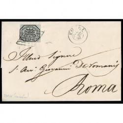 1857 Pontificio 6Baj Grigio Sas.7a su lettera sa Forlì a Roma