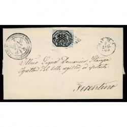 1863 Pontificio 6Baj Grigio verdastro Sas.7 da Roma a Ferentino