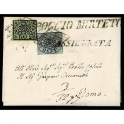 1856 Pontificio 2Baj + 1Baj Assicurata da Poggio Mirteto a Roma