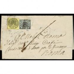 1865 Pontificio 4Baj+2Baj lettera Viterbo a Roma con testo - firma Raybaudi