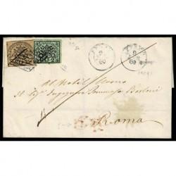 1860 Pontificio 3Baj+2Baj lettera da Fermo a Roma - firmata Diena