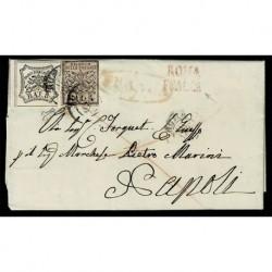 1853 Pontificio 8Baj+5Baj lettera da Roma per Napoli - firmata Biondi