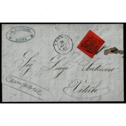 1867 Pontificio 10cent Sas.17 lettera da Roma a Viterbo cert. Diena