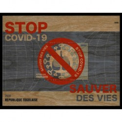 2020 Togo Stop Covid foglietto in legno unusual stamps