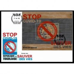 2020 Togo Stop Covid foglietto in legno unusual stamps - FDC