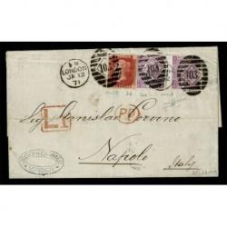 1871 Lettera con testo da Londra a Napoli Penny Red + 6 pence certificato Sorani