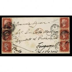 1869 Lettera Hastings (Gran Bretagna) a Firenze rispedita Livorno penny red