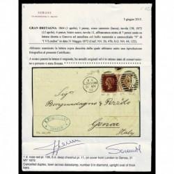 1872 Lettera da Londra a Genova penny red + 6 pence bruno certificata Sorani
