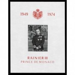 1974 Monaco foglietto 25° avvento Ranieri III - MNH/**