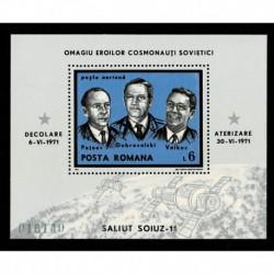 1971 Romania cosmonauti missione Soiuz-11 - foglietto MNH/**
