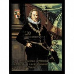 2008 Liechtenstein anniversario dinastia Carlo I - foglietto usato