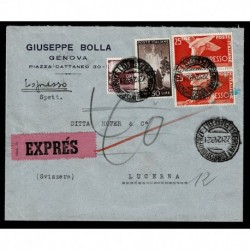1949 Lettera Espresso da Genova a Lucerna Svizzera affrancatura Democratica