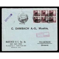 1949 Lettera Espresso da Genova a Villmergen Svizzera affrancatura Democratica