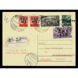 1949 Territorio Libero di Trieste Intero raccomandato per Wadenswil Svizzera