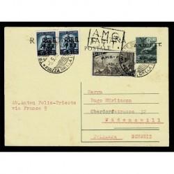 1949 Territorio Libero di Trieste Intero tipo B per Wadenswil Svizzera