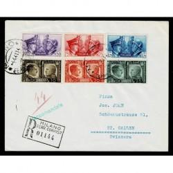 1941 Fratellanza d'Armi serie su lettera da Milano a Gallen Svizzera
