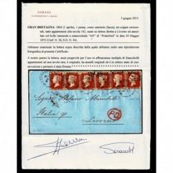 1872 Lettera da Waterford a Livorno penny red 142 certificata Sorani