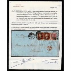 1871 Lettera da Londra a Firenze penny red 137 + 3 pence rosa certificata Sorani