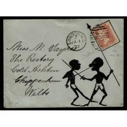 1877 Lettera Londra a Chippenham penny red 78 bandiera - certificata Sorani