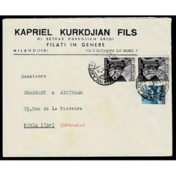 1950 Lettera per Parigi in tariffa Sas.615 + democratica