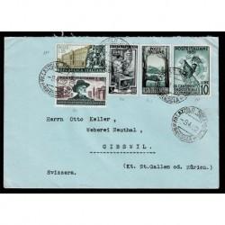 1952 Lettera Brescia Gibswil in tariffa Sas.680 + Sas.677 + Sas.675 + Sas.683