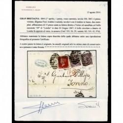 1867 Lettera Londra a Torino penny red 108 + 6 pence violetto cert. Sorani