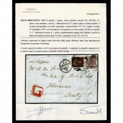1875 Lettera da Londra a Firenze penny red 130 + 2 1/2 pence rosa cert. Sorani