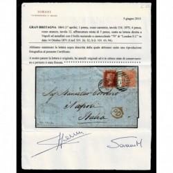 1871 Lettera Londra a Napoli penny red 134 + 4 pence rosa cert. Sorani
