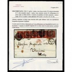 1873 Lettera Londra a Venezia penny red 130 +122 cert. Sorani