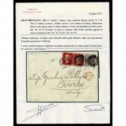 1866 Lettera Londra a Torino penny red 72/78 + 6 pence violetto cert. Sorani