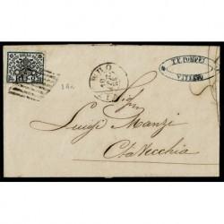 1866 Pontificio 2Baj Sas.3Ab grigio azzurrastro Viterbo a Civitavecchia