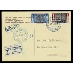 1952 francobolli Modena e Parma cartolina raccomandata celebrativa