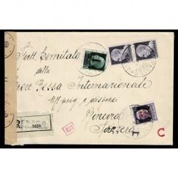 1945 RSI Raccomandata Trieste a Croce Rossa Ginevra