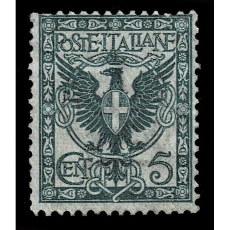 1901 Regno Floreale 5cent aquila sabauda Sas.70 nuovo MH/*