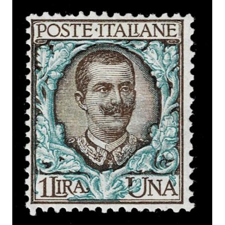 1901 Regno Floreale 1 Lira Sas.77 nuovo MH/*