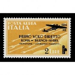1934 Regno Posta Aerea Roma Buenos Aires Sas.56 nuovo MH/*