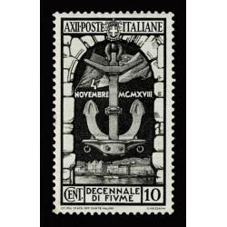 1934 Regno Decennale Fiume 10c Sas.350 nuovo MH/*