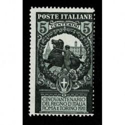 1911 Regno Cinquantenario Unità d'Italia 5+5 cent Sas.93 nuovo MH/*
