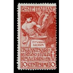 1911 Regno Cinquantenario Unità d'Italia 10+5 cent Sas.94nuovo MH/*
