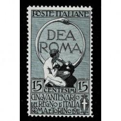 1911 Regno Cinquantenario Unità d'Italia 15+5 cent Sas.95 nuovo MH/*