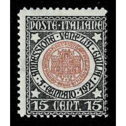 1921 Regno Annessione Venezia Giulia 15cent Sas.113 nuovo MH/*