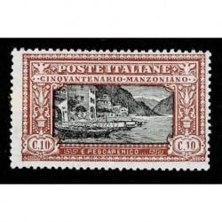 1923 Regno Alessandro Manzoni 10cent Sas.151 nuovo MH/*