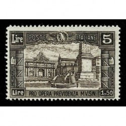 1930 Regno Previdenza Milizia 5 + 1,5 Lire Sas.275 nuovo MLH/*