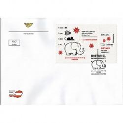 2020 Austria FDC distanziamento sociale su carta igienica Unusual Stamp