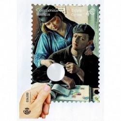 2020 Spagna Unusual Stamp Collezionista filatelico con lente di ingrandimento