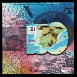 2020 Spagna foglietto 150° Istituto Geografico Nazionale unusul stamp