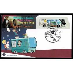2020 Spagna Bibliobus francobollo sagomato autobus FDC